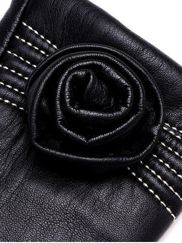 Affordable Faux Leather Flower Shape and Sewing Thread Embellished Thicken Short Gloves - L BLACK Mobile