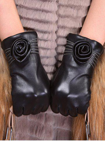 Hot Faux Leather Flower Shape and Sewing Thread Embellished Thicken Short Gloves - L BLACK Mobile