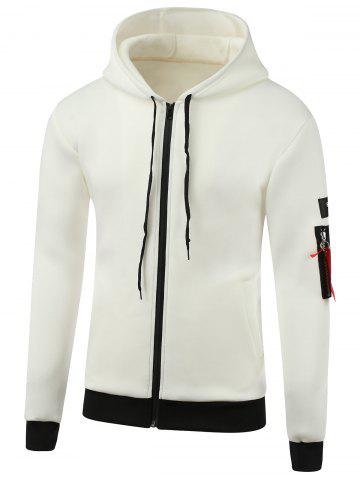 Chic Appliques Cotton Blends Hooded Zip-Up Hoodie