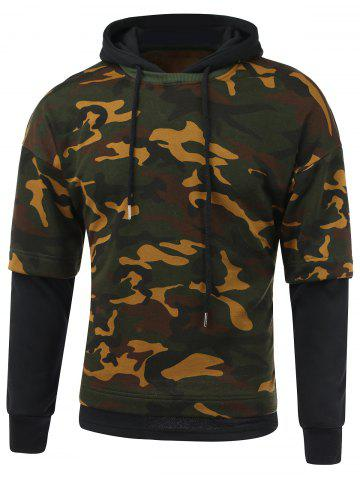 Outfit Camouflage Pattern Faux Twinset Splicing Hooded Long Sleeve Hoodie BLACK 2XL