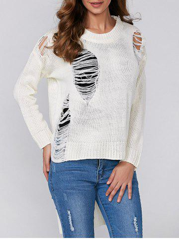 Sale High Low Ripped Pullover Knitwear