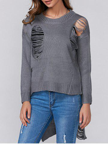 High Low Ripped Pullover Knitwear - GRAY ONE SIZE