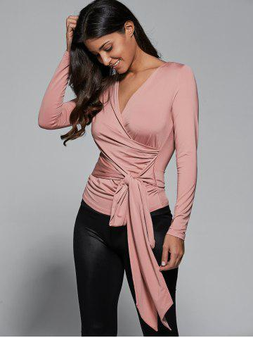 Shop Self-Tie Fitted Surplice Blouse