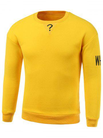Latest Letters Embroidery Round Neck Long Sleeve Sweatshirt YELLOW 3XL