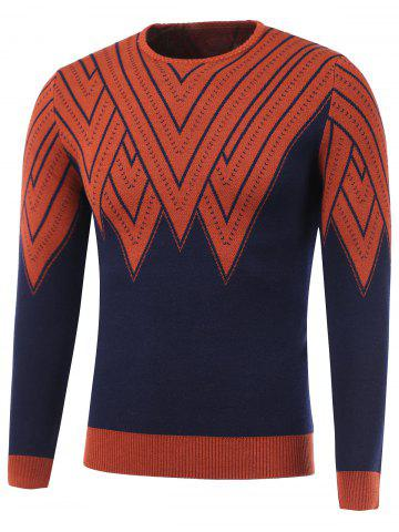 Unique Color Block Geometric Print Round Neck Sweater