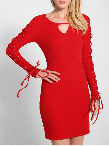 Online Lace Up Long Sleeve Bodycon Dress