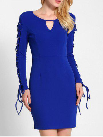 Trendy Lace Up Long Sleeve Bodycon Dress BLUE M