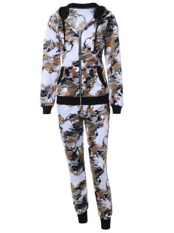 Camo Zip Up Hoodie with Running Jogger Pants - Jungle Camouflage - L