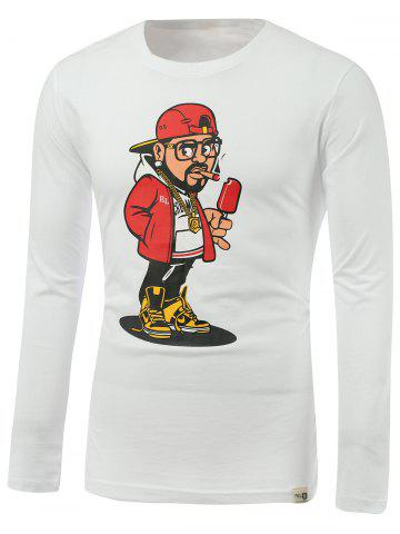 Shop Cartoon Man Print Round Neck Long Sleeve T-Shirt