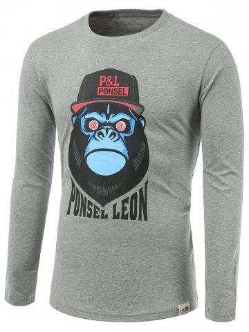 Trendy Cartoon Orangutan Print Round Neck Long Sleeve T-Shirt
