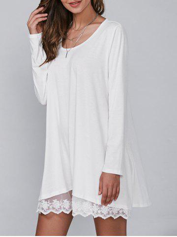 Online Casual Lacy Long Sleeve Tunic T Shirt Dress WHITE L