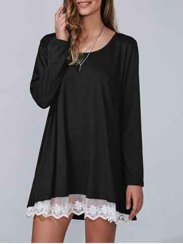 Fancy Casual Lacy Long Sleeve Tee Tunic T Shirt Dress