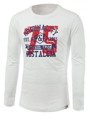 Outfit Number and Letters Print Round Neck Long Sleeve T-Shirt