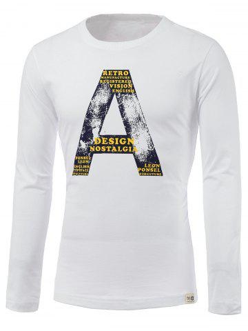 Affordable Letter A Print Round Neck Long Sleeve T-Shirt
