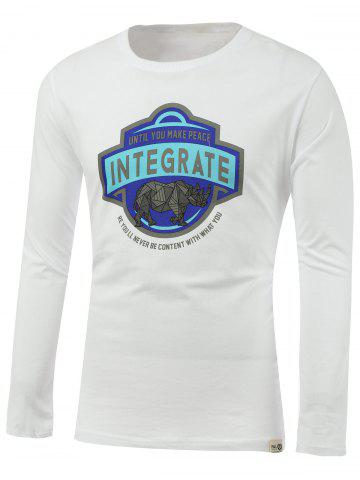 Affordable Rhinoceros and Letters Print Round Neck Long Sleeve T-Shirt