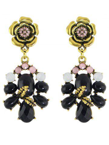 Unique Pair of Faux Gem Flower Earrings
