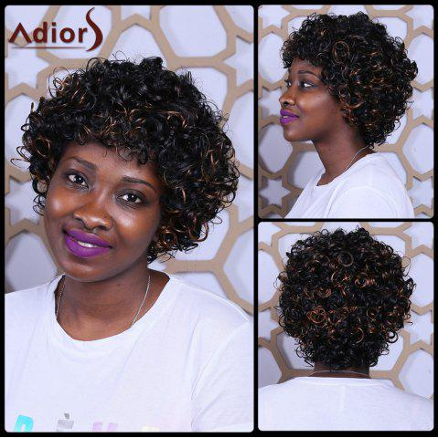 Sale Short Full Bang Fluffy Afro Curly Mixcolor Synthetic Wig COLORMIX