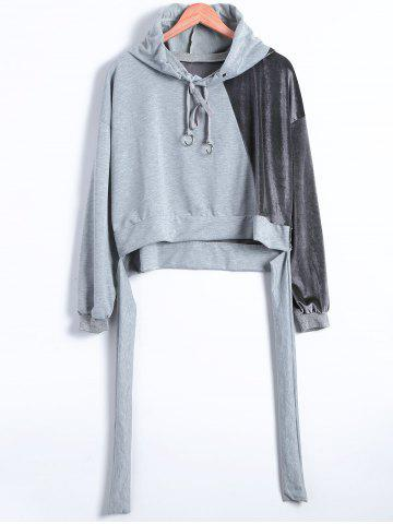 New Autumn Circle Hoop Lace-Up Velvet Patched Reversible Crop Hoodie