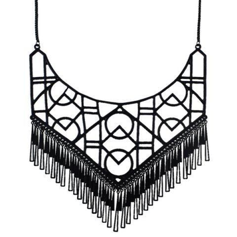 Discount Geometric Openwork Tassel Necklace BLACK