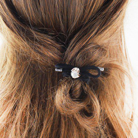 Rhinestone Bows Elastic Hair Band - Black - S