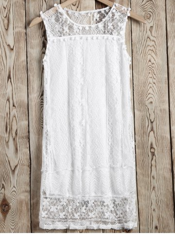 Cheap Comfort Small Pompon Openwork Lace Dress