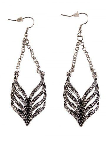 Store Alloy Rhinestone Leaf Earrings