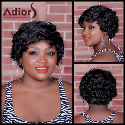 Latest Adiors Short Inclined Bang Curly Synthetic Wig BLACK