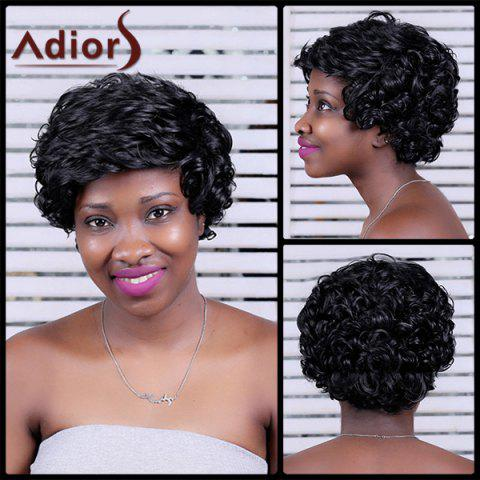 Adiors Short Curly Oblique Bang Synthetic Wig - BLACK