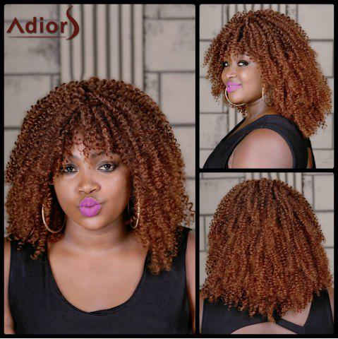 Sale Adiors Long Colormix Oblique Bang Curly Synthetic Wig COLORMIX