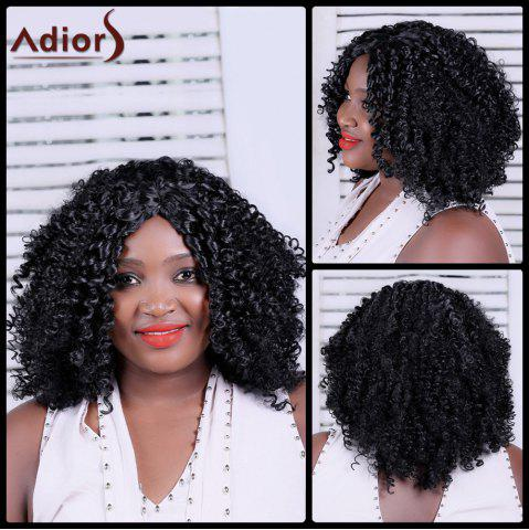 Sale Adiors Long Shaggy Curly Centre Parting Synthetic Wig BLACK