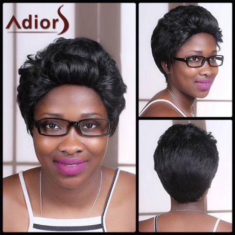 Fashion Adiors Short Fluffy Straight Synthetic Wig BLACK
