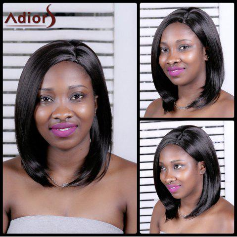 Best Adiors Long Straight Inclined Parting Synthetic Wig BLACK BROWN