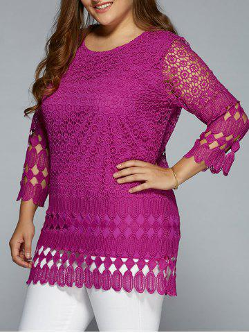 Buy Hollow Out Lace Blouse PURPLISH RED 3XL