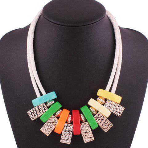 Fancy Geometric Block Layered Rope Necklace