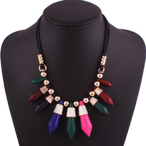 Outfits Faux Leather Bullet Beads Pendant Necklace