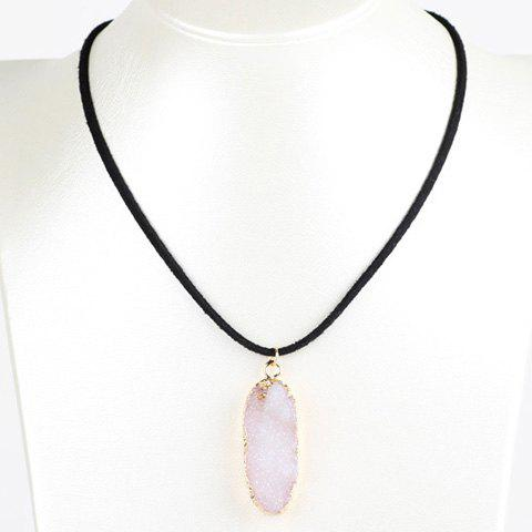 Oval Natural Stone Necklace - White - W71 Inch * L79 Inch