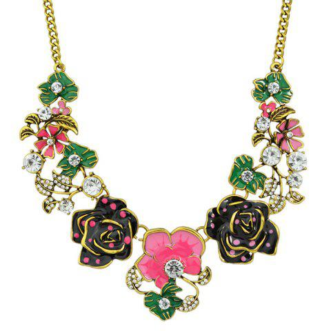 Cheap Rhinestone Rose Flower Leaf Necklace HOT PINK