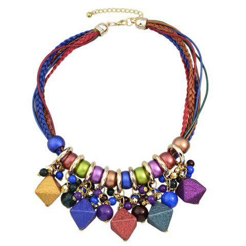 Discount Faux Leather Braid Geometric Beads Necklace COLORMIX