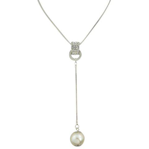 Online Rhinestone Circle Faux Pearl Layered Necklace