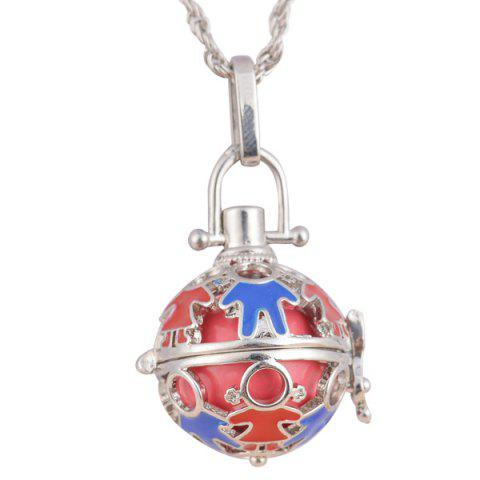Pregnant Bead Ball Locket Necklace - Silver