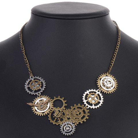 Trendy Circle Gear Pendant Necklace