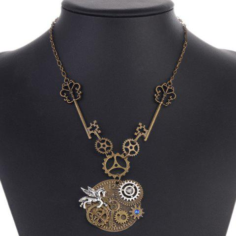 Shop Rhinestone Pegasus Circle Gear Necklace