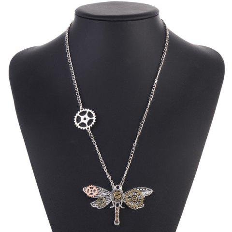 Unique Alloy Dragonfly Circle Gear Necklace