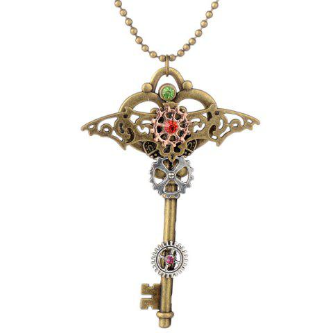 Rhinestone Bat Circle Gear Key Necklace - BRONZE COLORED