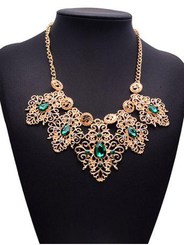 Trendy Faux Emerald Gem Rhinestone Engraved Floral Necklace