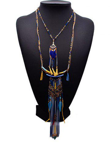 Unique Geometric Feather Tassel Layered Ethnic Necklace