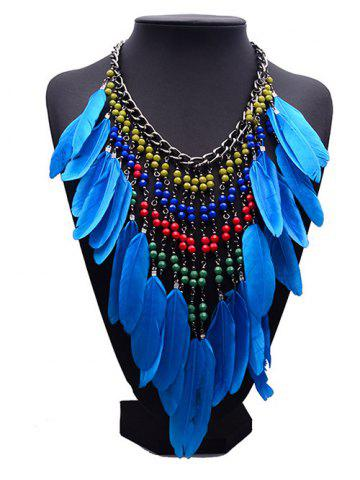 Discount Alloy Tassel Beaded Bohemian Feather Necklace