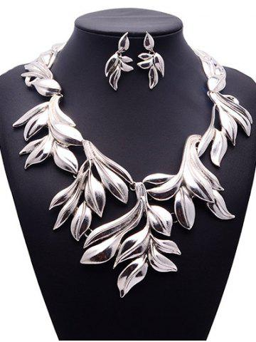 Trendy Vintage Tree Leaf Necklace and Earrings - SILVER  Mobile