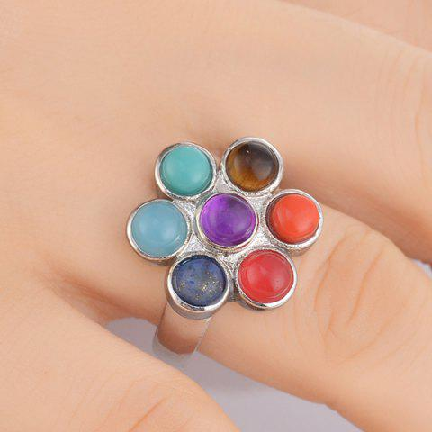 Store Multicolored Beads Floral Ring SILVER ONE-SIZE