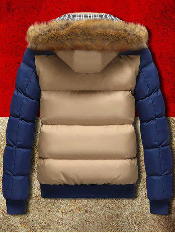 Affordable Detachable Faux Fur Hood Zip Up Two Tone Quilted Jacket - L KHAKI Mobile